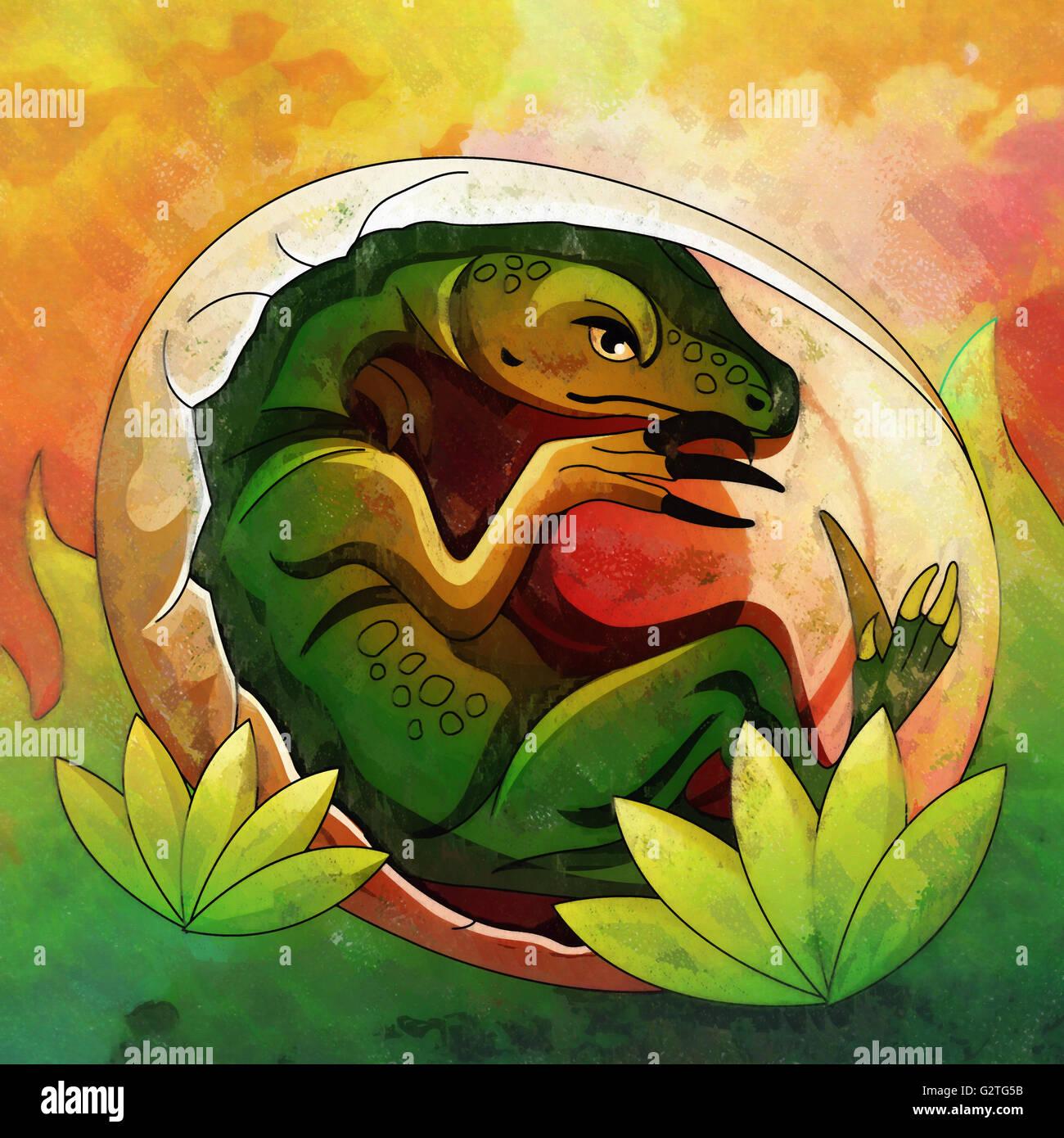 Hatching Dinosaur Egg IIllustration - Stock Image