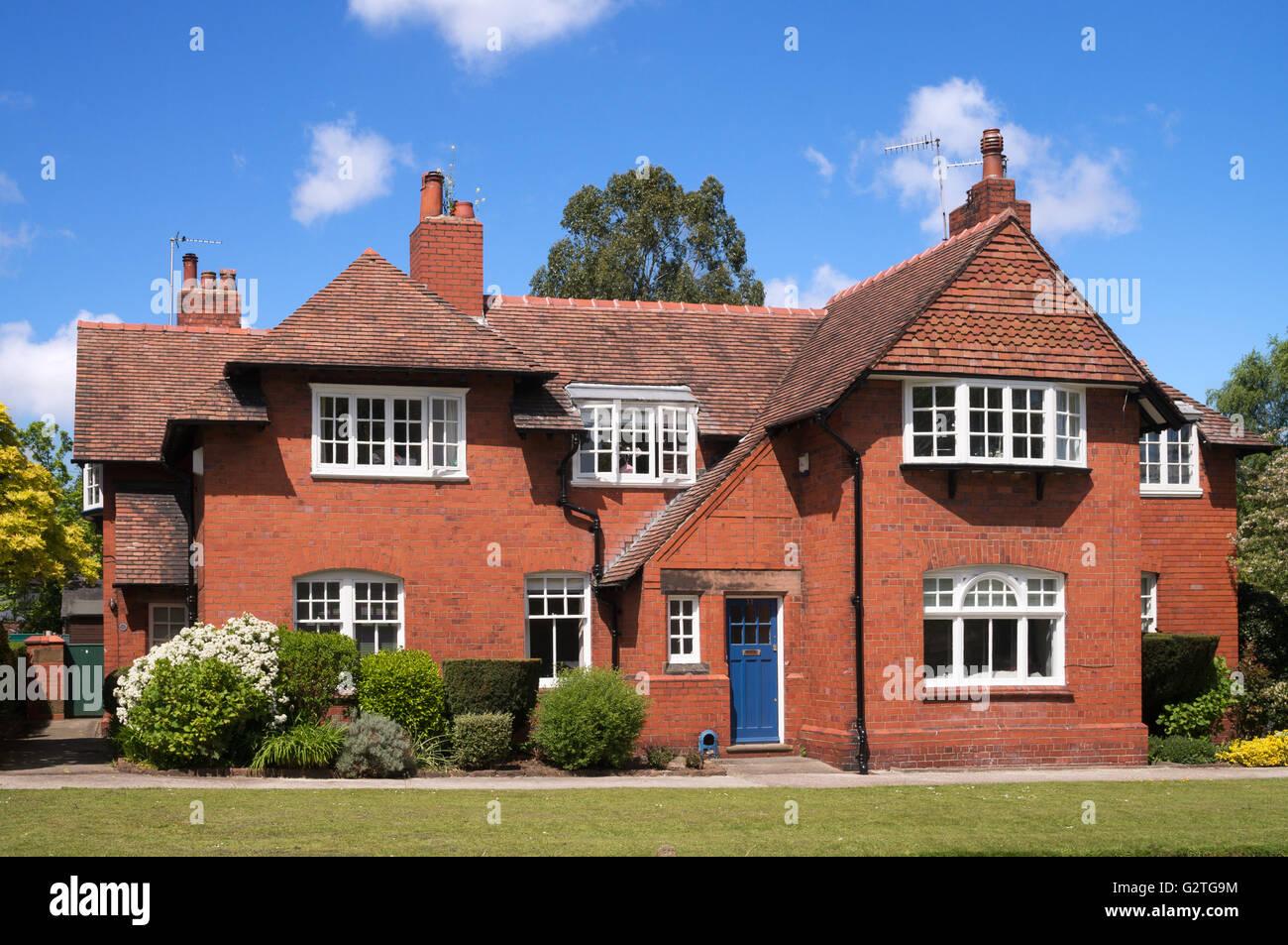 Houses 9 and  11  Bolton Road, Port Sunlight  model village, Merseyside, England, UK - Stock Image