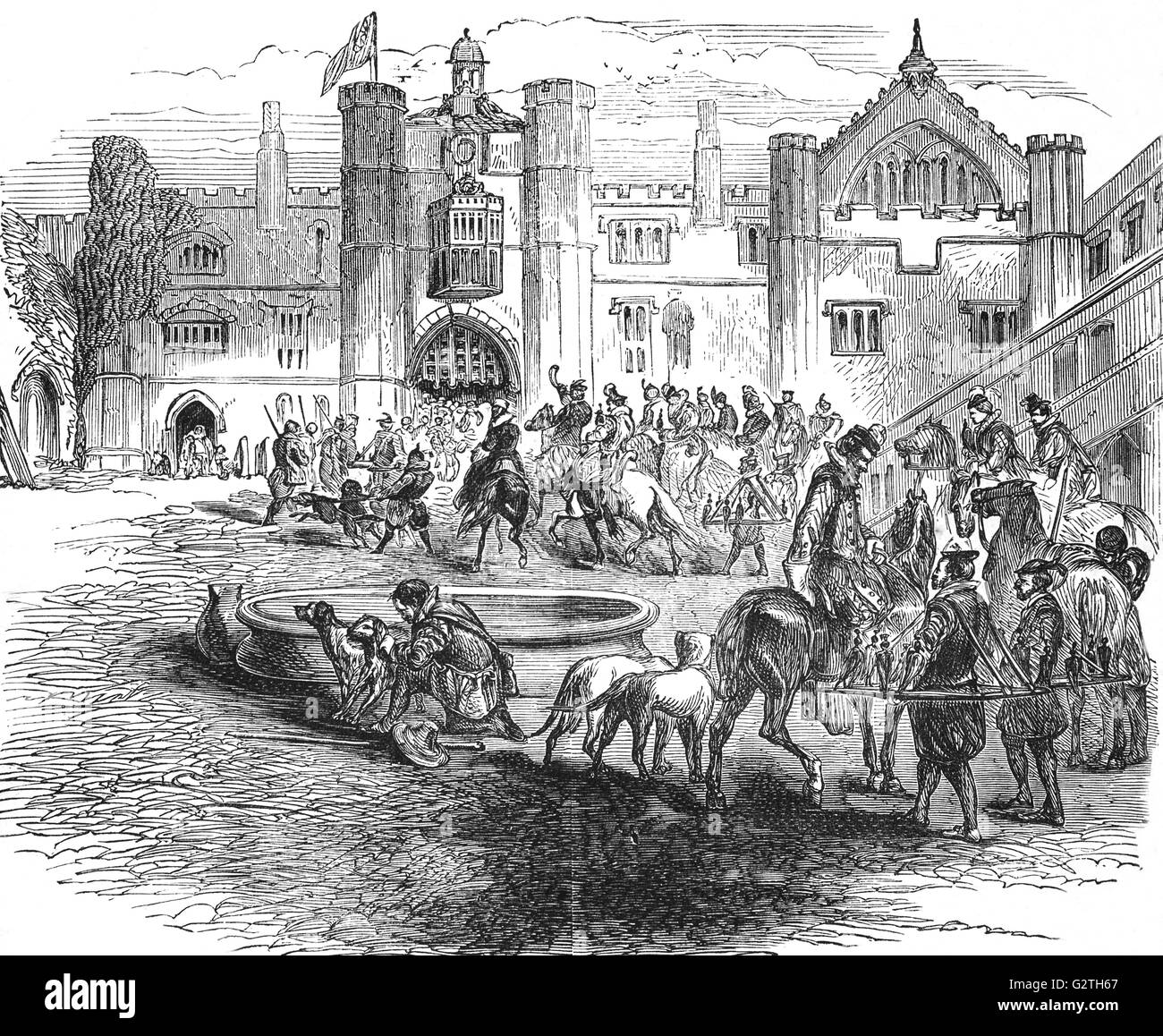 James I, King of England and Ireland and his courtiers setting out on a hunt. - Stock Image
