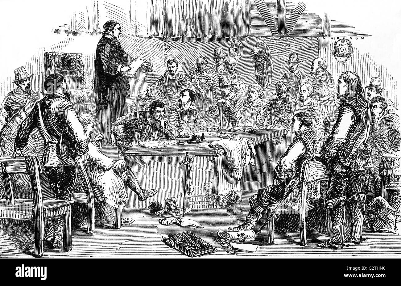 Meeting of the  Virginia House of Burgesses, the first legislative assembly of elected representatives in North - Stock Image