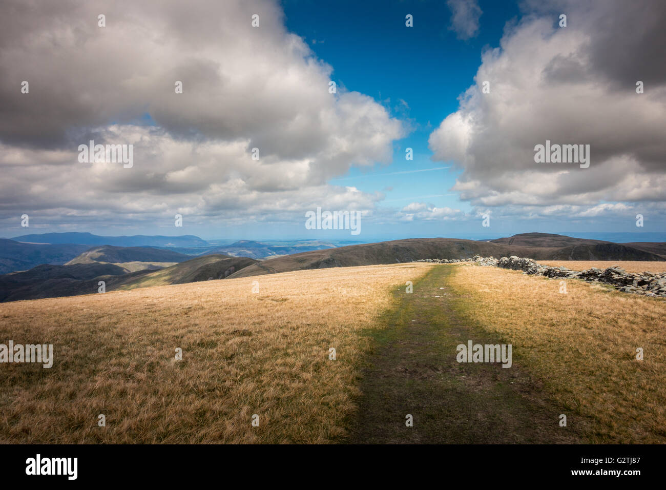 Beautiful views from High Street looking north, Lake District, UK - Stock Image