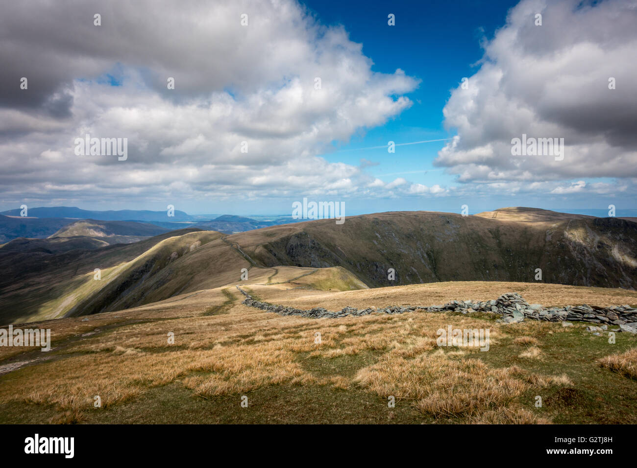 Views from High Street looking north down path towards Kidsty Pike, Lake District, UK - Stock Image