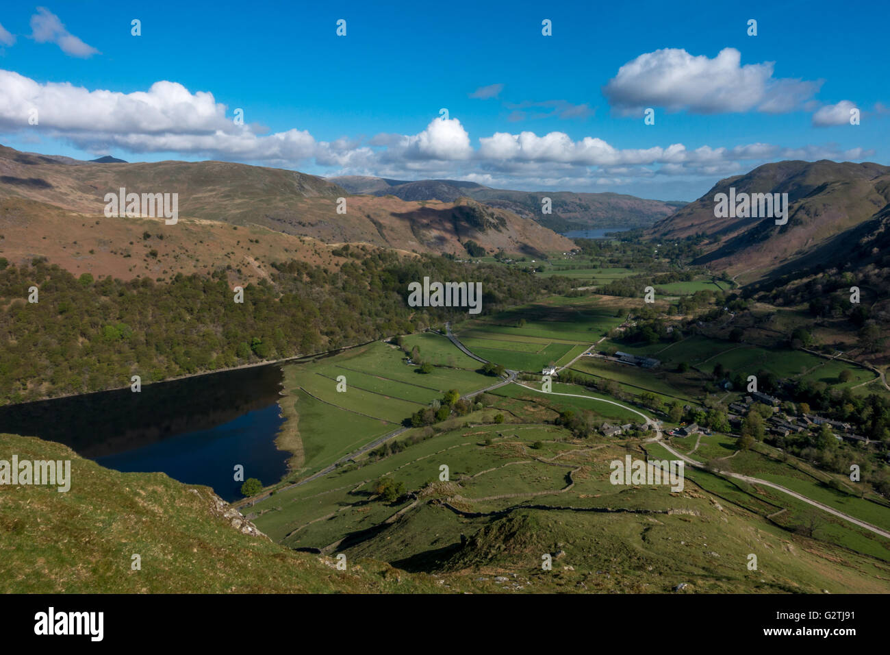Beautiful vews down Patterdale from Hartsop Dodd - Brothers Water in the foreground and Ullswater in the distance, - Stock Image