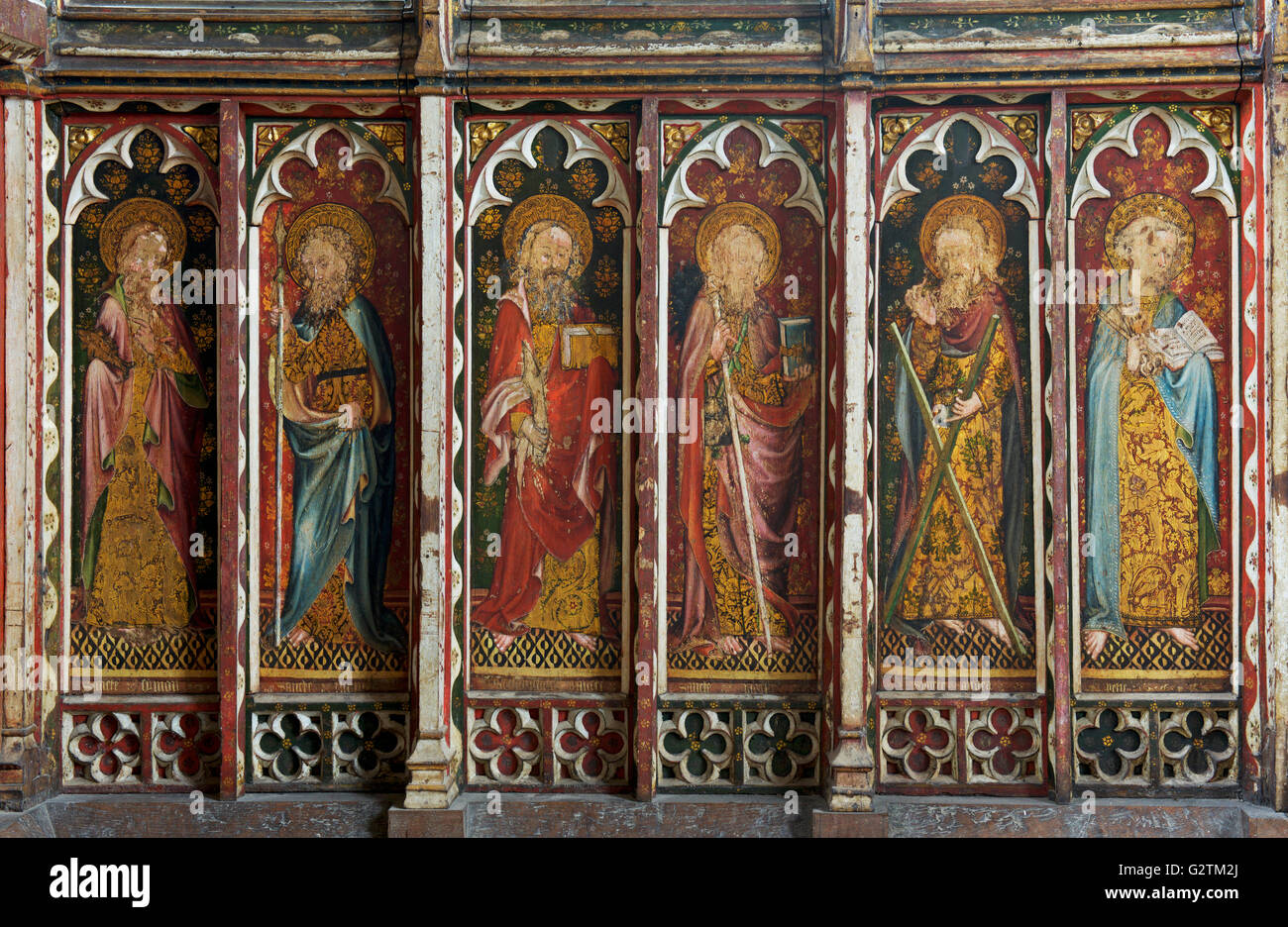 Painted screen in St Helen's Church, Ranworth, Norfolk, England UK - Stock Image