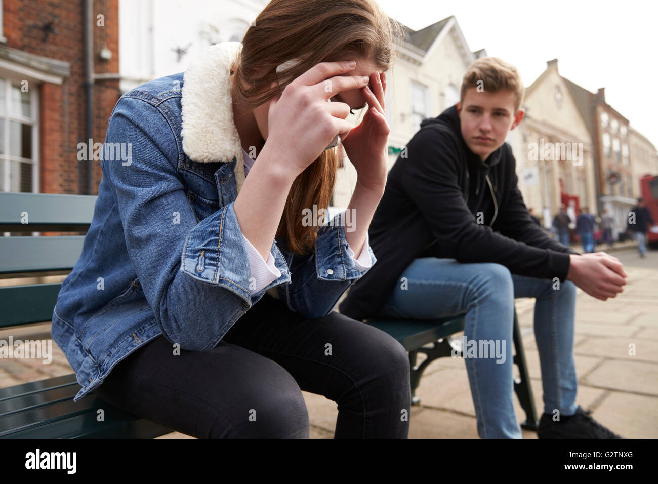 Unhappy Teenage Couple Having Relationship Difficulties - Stock Image