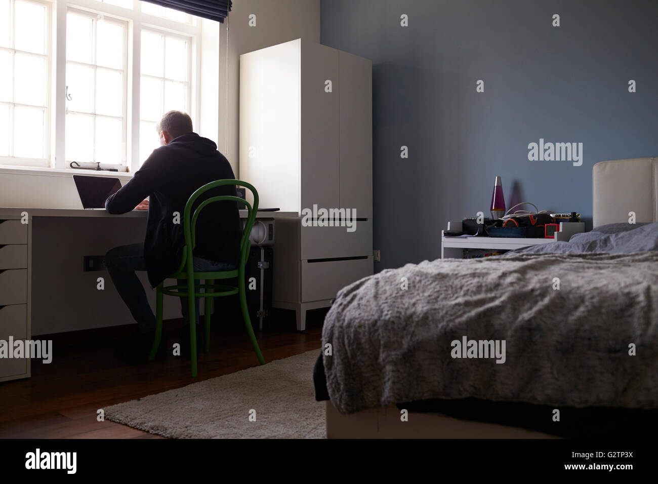 Miraculous Teenage Boy Sitting At Desk In Bedroom Using Laptop Stock Home Interior And Landscaping Ferensignezvosmurscom
