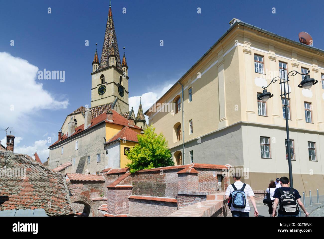 Protestant parish church and Pempflinger - stairs, Romania, Transilvania, Transylvania, Siebenbürgen (Transsilvanien) - Stock Image