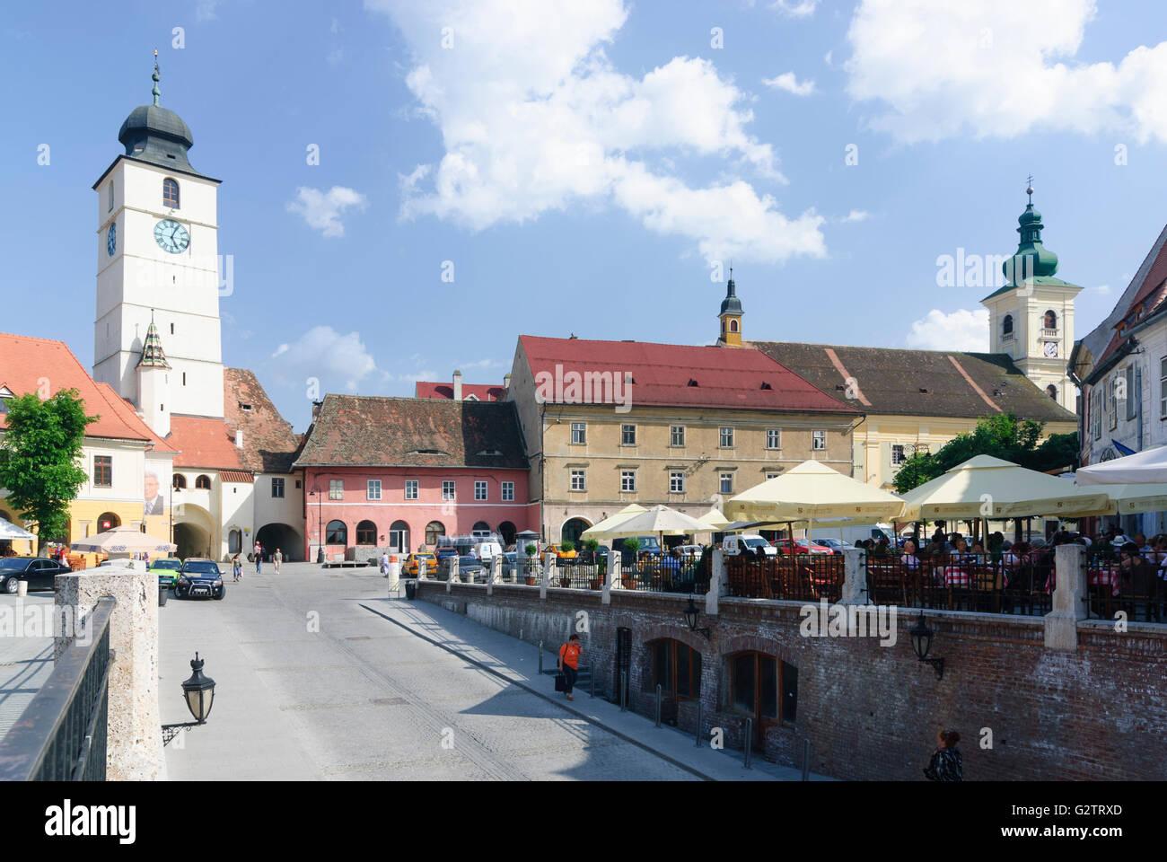 Piata Mica ( Small Square ) with Council tower ( left), Romania, Transilvania, Transylvania, Siebenbürgen Sibiu - Stock Image