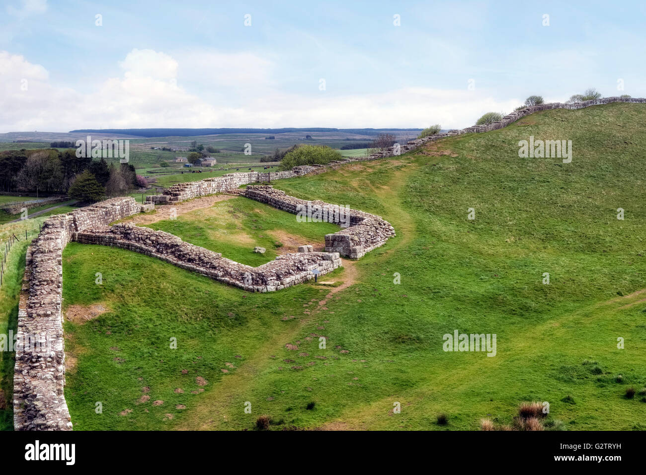 Hadrian's Wall, Castle Nick, Steel Rigg, Northumberland, England, UK - Stock Image