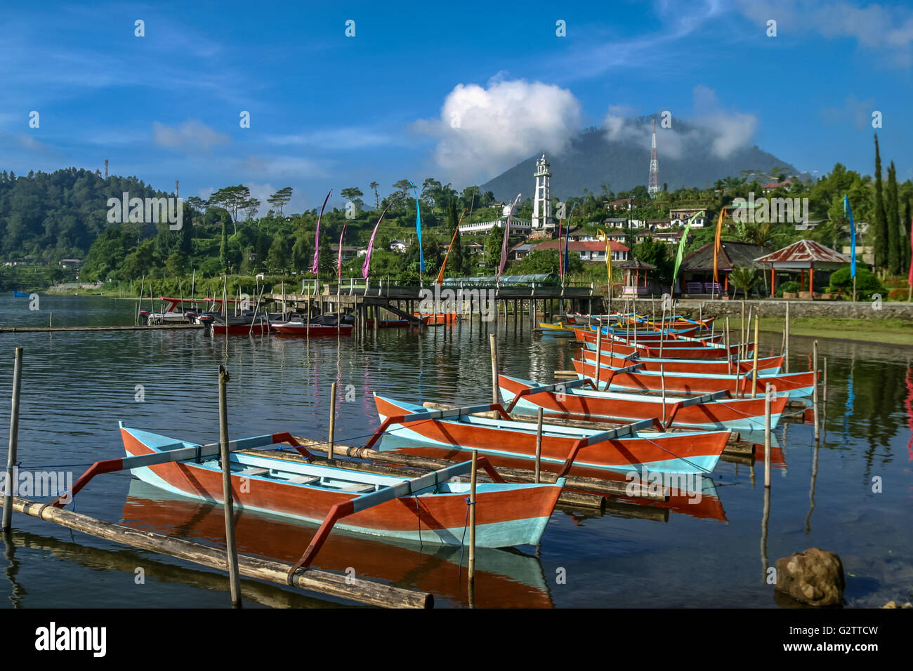 Indonesia Bali Bedegul Boats on Lake Bratan, a volcanic crater lake at Bedegul, in Bali's mountainous interior with Stock Photo