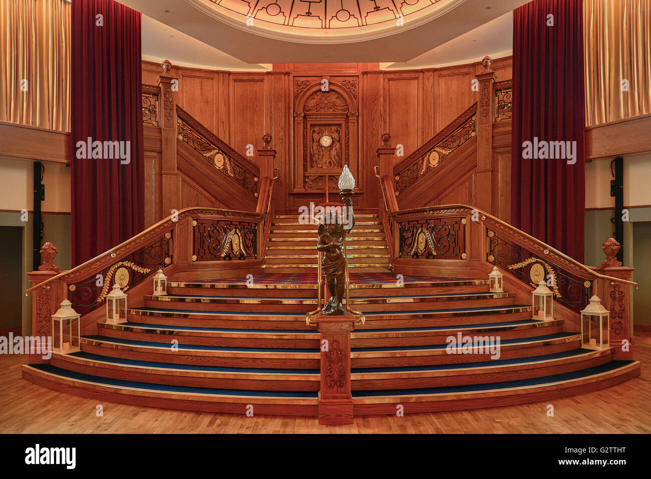 Ireland, Belfast, Titanic Quarter, Titanic Belfast Visitor Experience, interior of the ballroom showing replica - Stock Image