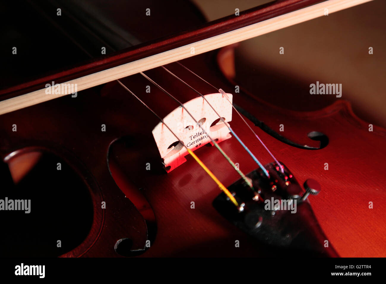 Music, Instruments, Strings, Close up detail of Violin showing bridge and strings. - Stock Image