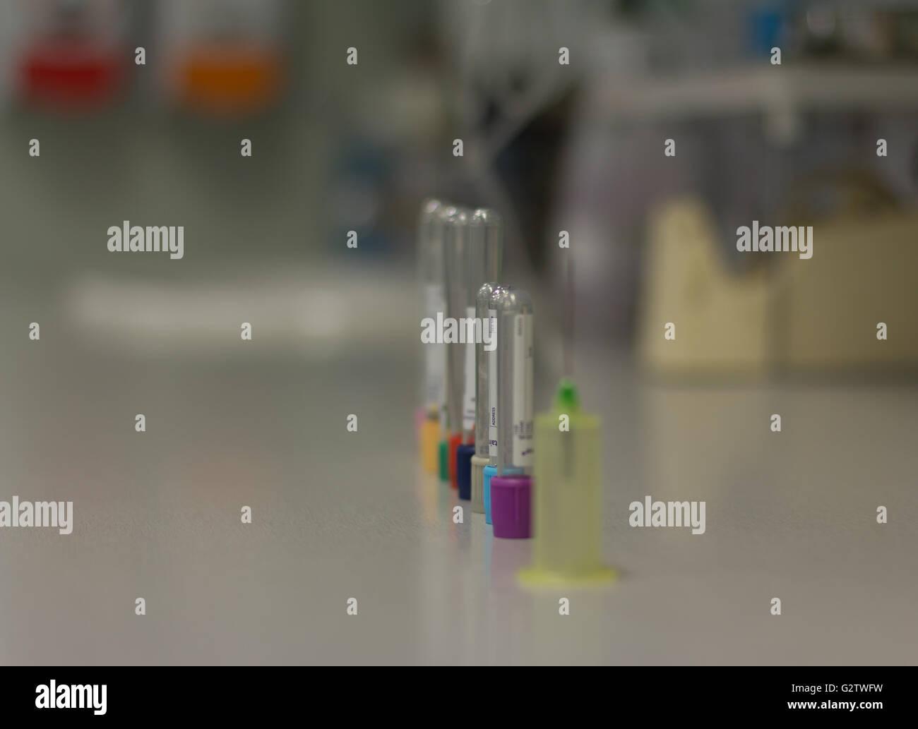Blood vials, tests, Pathology - Stock Image