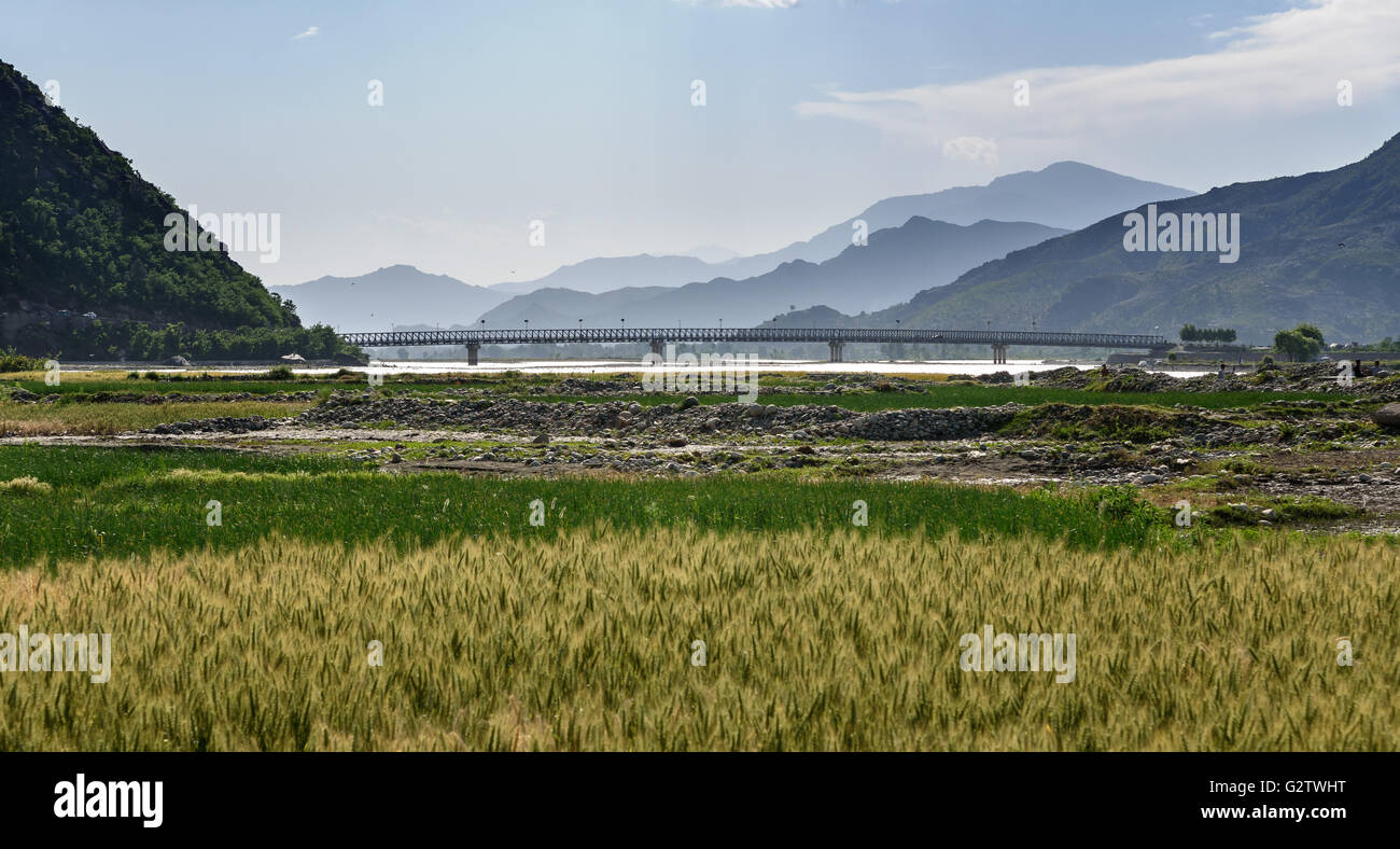 Gaimen bridge over river Swat,Pakistan - Stock Image