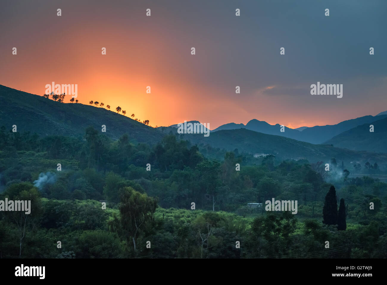 View of Swat valley at sunset, Pakistan. - Stock Image