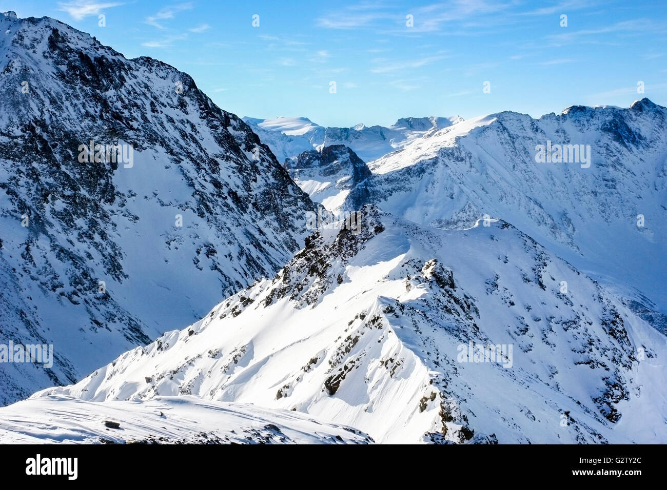 View from L'aiguille Rouge (3200m) in Les Arcs 2000 ski area, France - Stock Image