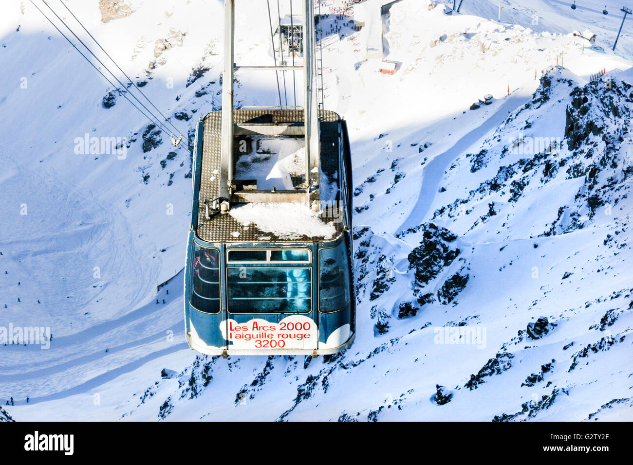 View from L'aguille Rouge (3200m) in Les Arcs 2000 ski area, France - Stock Image