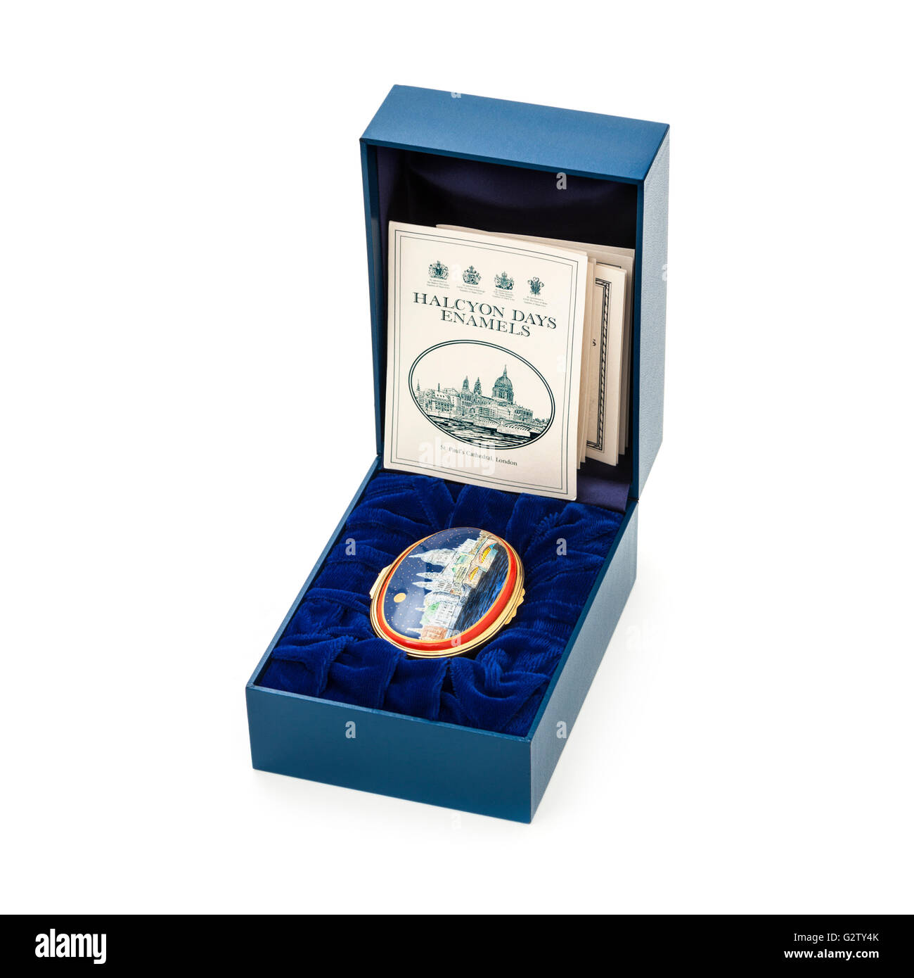 Halcyon Days Enamels music box in original packaging. Plays 'These Foolish Things' by Eric Maschwitz. - Stock Image