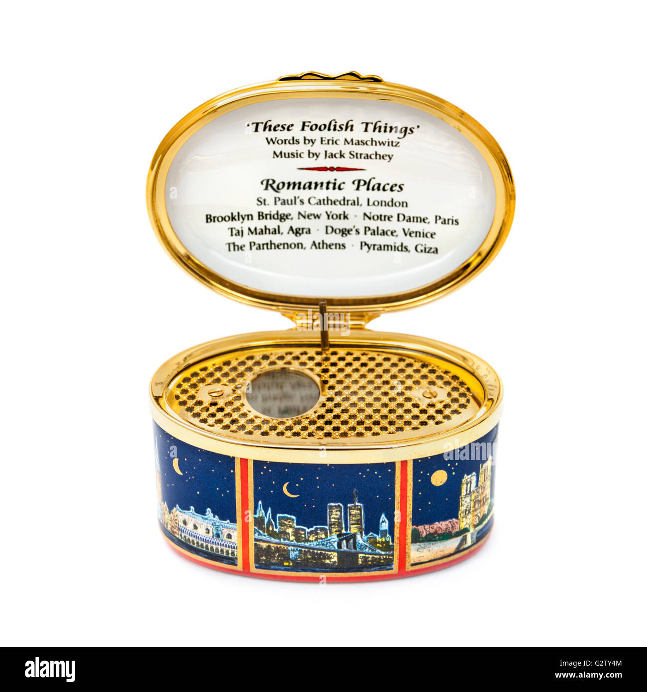 Halcyon Days Enamels music box. Plays 'These Foolish Things' by Eric Maschwitz. - Stock Image