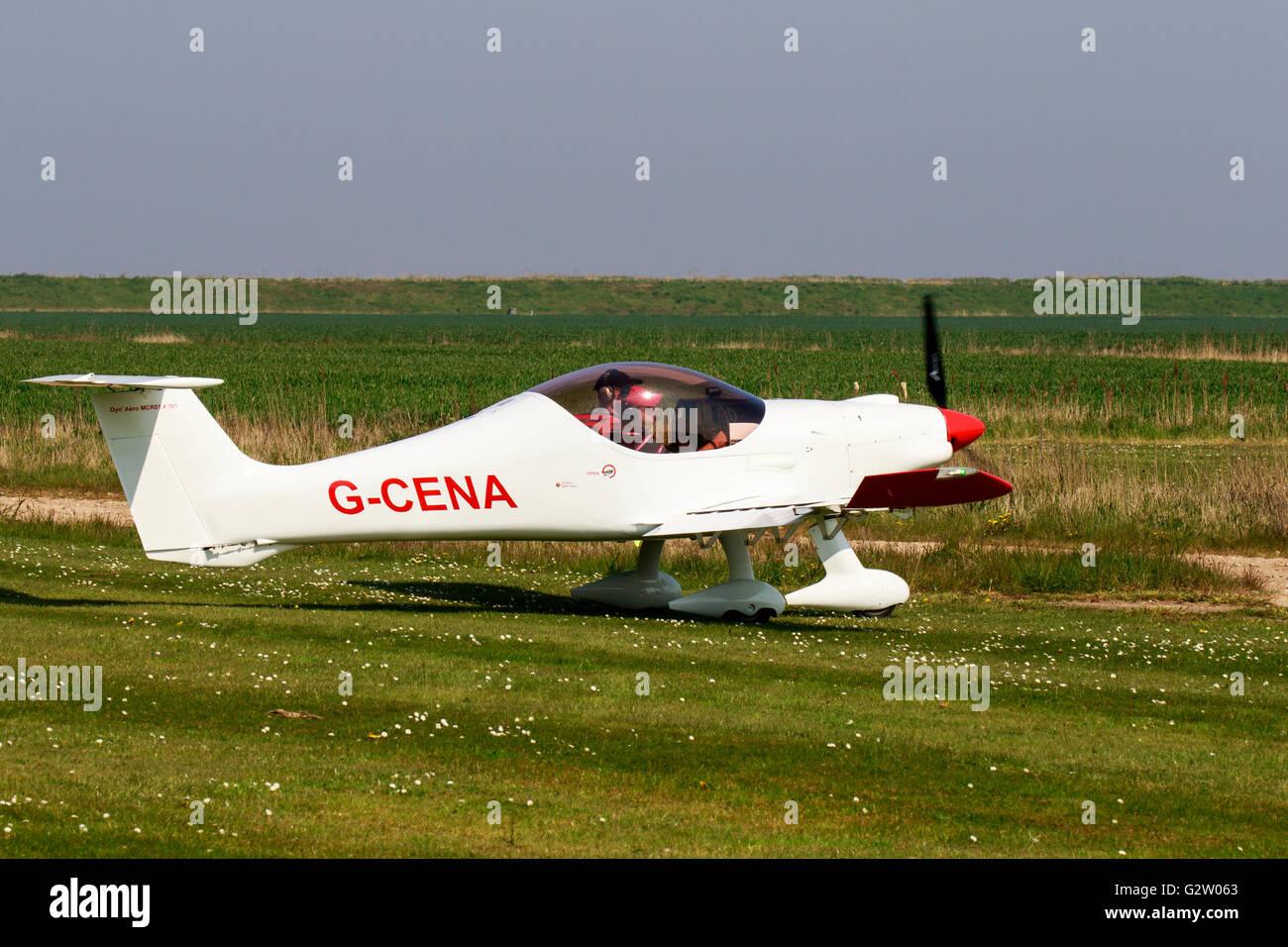 Dyn'Aero MCR-01 ULC AG-CENA taxiing to runway at North Coates Airfield - Stock Image
