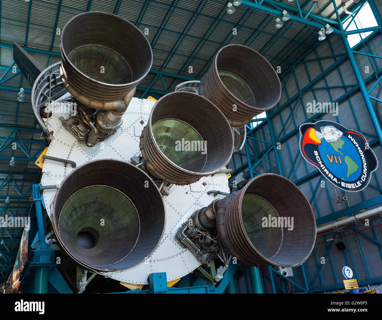 Giant Rocket Motors on the First Stage of NASA's Saturn V Rocket, which was used in the Apollo program to take - Stock Image