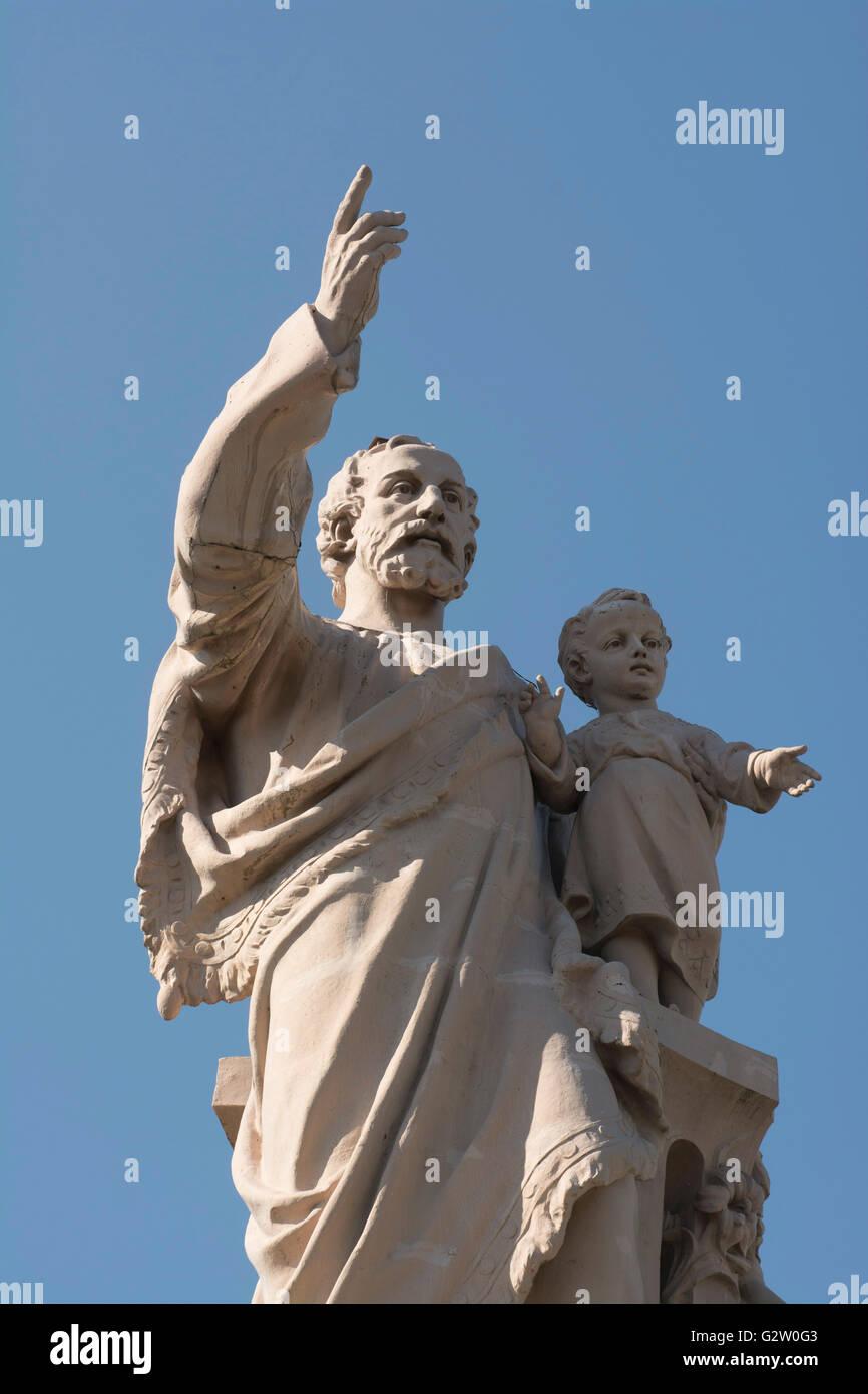 Espaly Saint Marcel, statue of St Joseph de Bon Espoir, Haute Loire, Auvergne, France, Europe - Stock Image