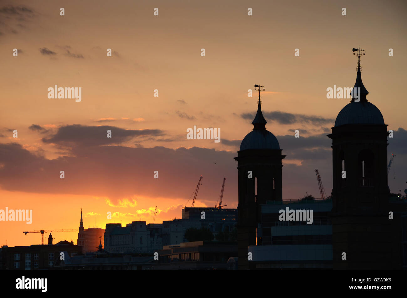 Cannon Street Station Spires, London, at sunset. - Stock Image