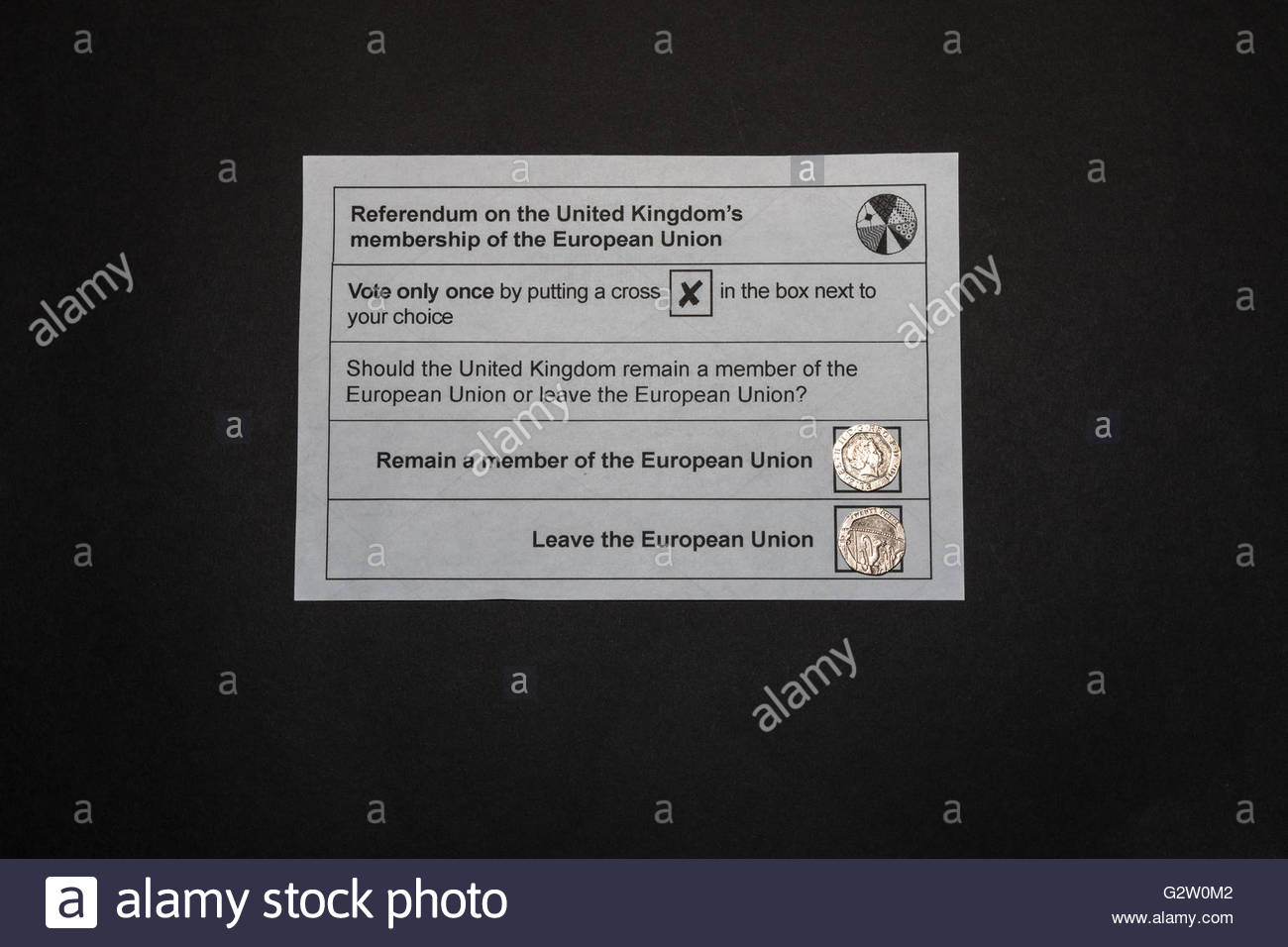 UK EU referendum ballot paper showing two 20 pence pieces one heads one tails covering the Leave and Remain boxes - Stock Image