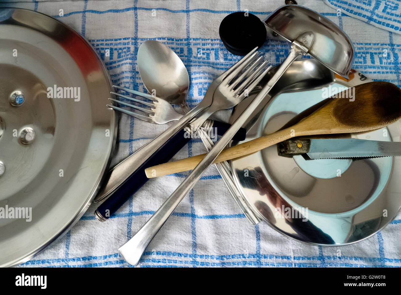 Household  objects on a cloth. - Stock Image