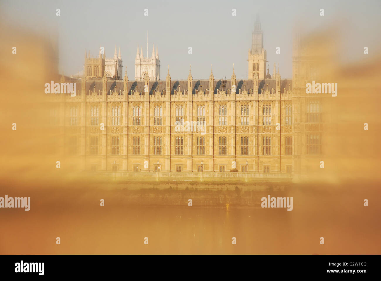 An unusual view of the Houses of Parliament, Westminster, taken with a filter to create a focused centre and blurred/soft Stock Photo