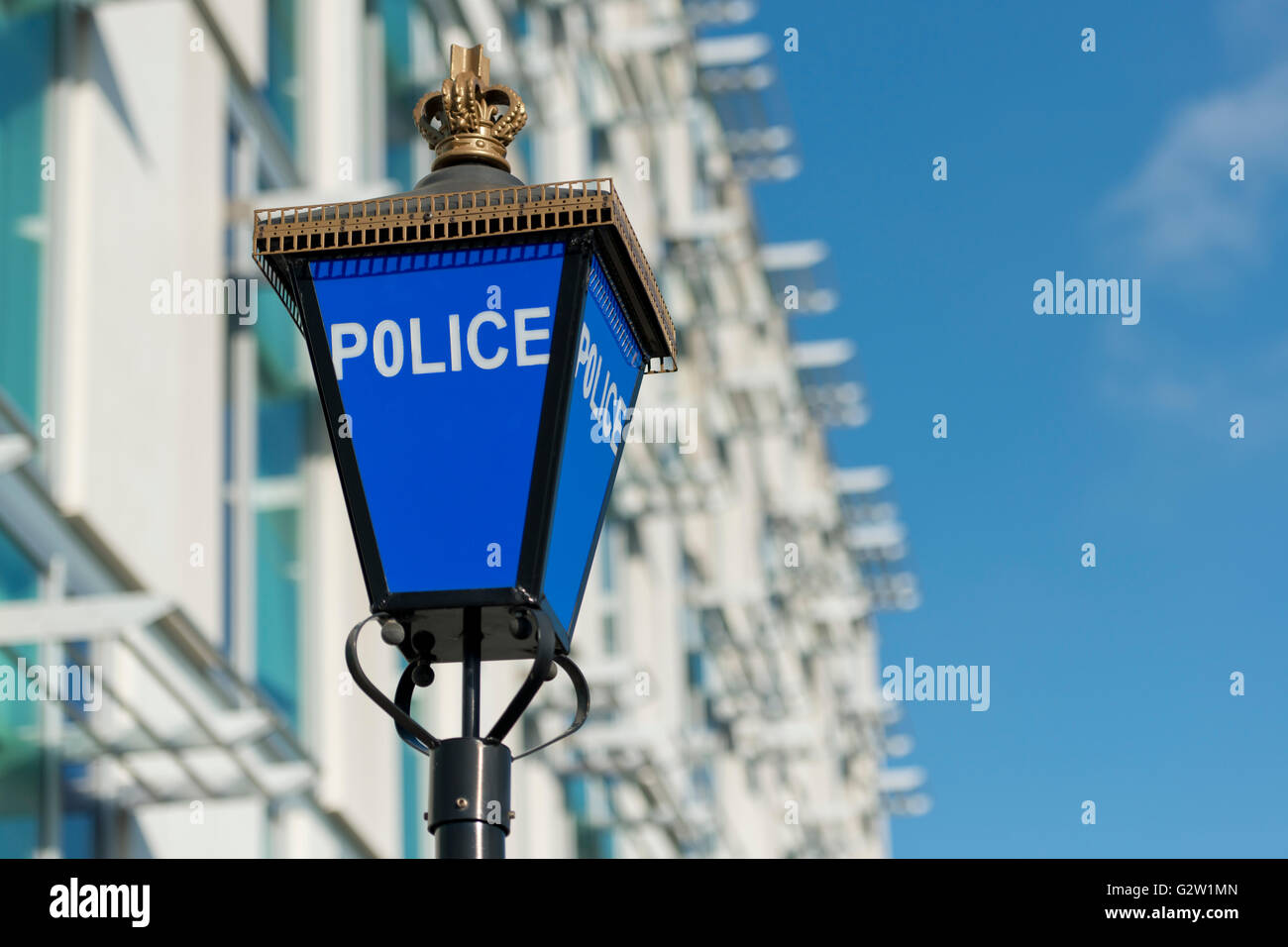 A police lamp outside the Greater Manchester Police Headquarters located in Central Park in the Newton Heath area - Stock Image
