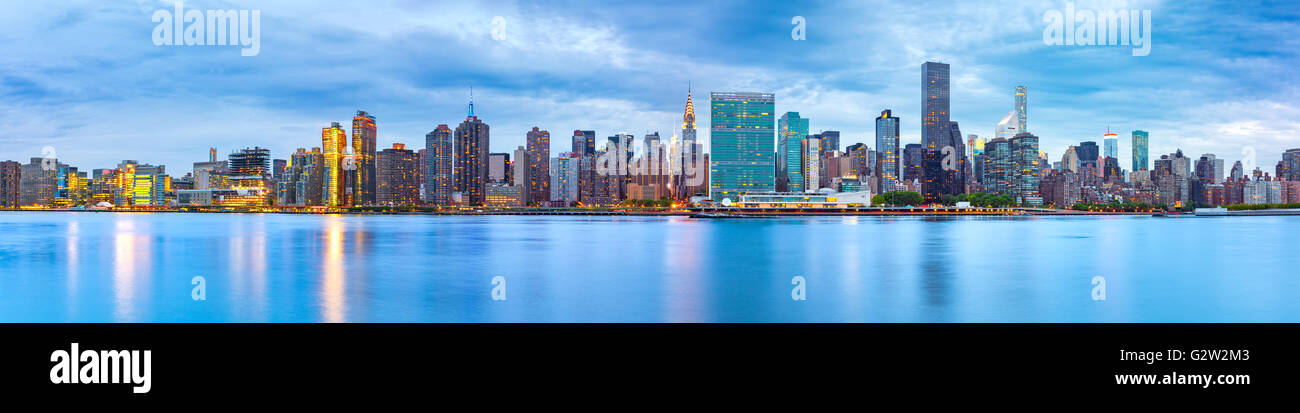 Midtown Manhattan panorama as viewed from Gantry Plaza State Park across East River - Stock Image