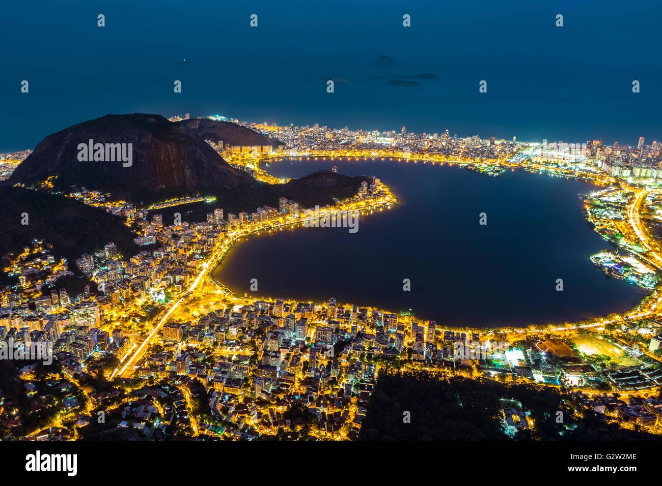 Aerial view of Rio de Janeiro, by night. - Stock Image