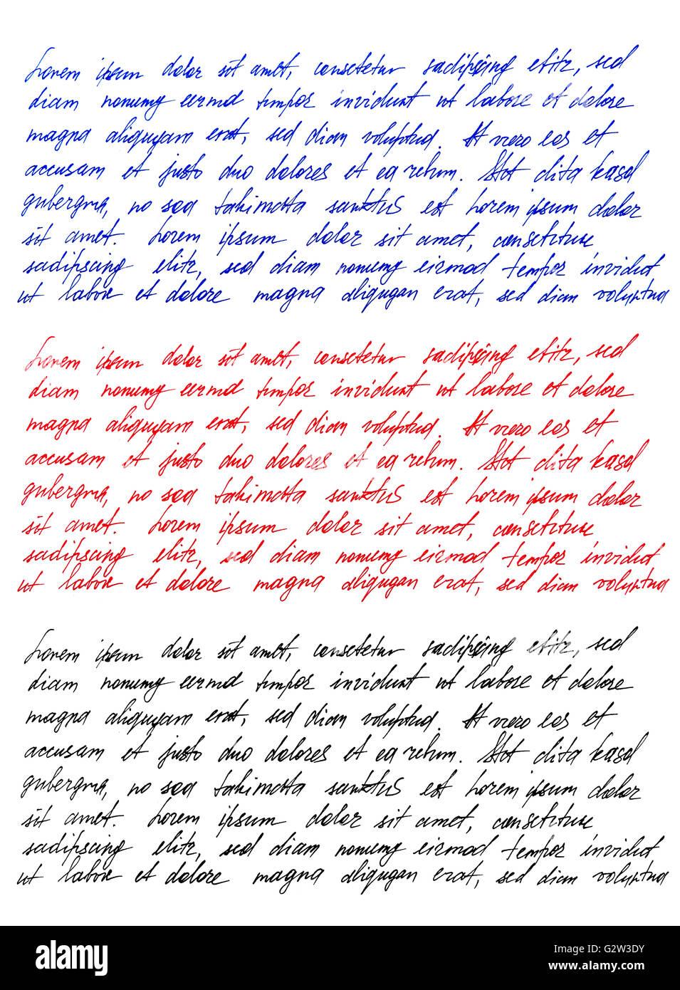 Handwritten letter. Latin text Lorem ipsum. Handwriting. Calligraphy. Manuscript. Script. Font. Abstract texture - Stock Image
