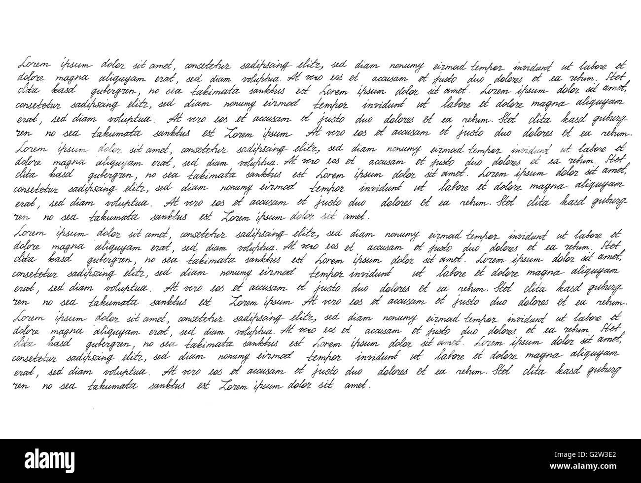Calligraphic handwritten script. Handwriting. Manuscript. Script. Font. Latin text Lorem ipsum. Abstract texture - Stock Image