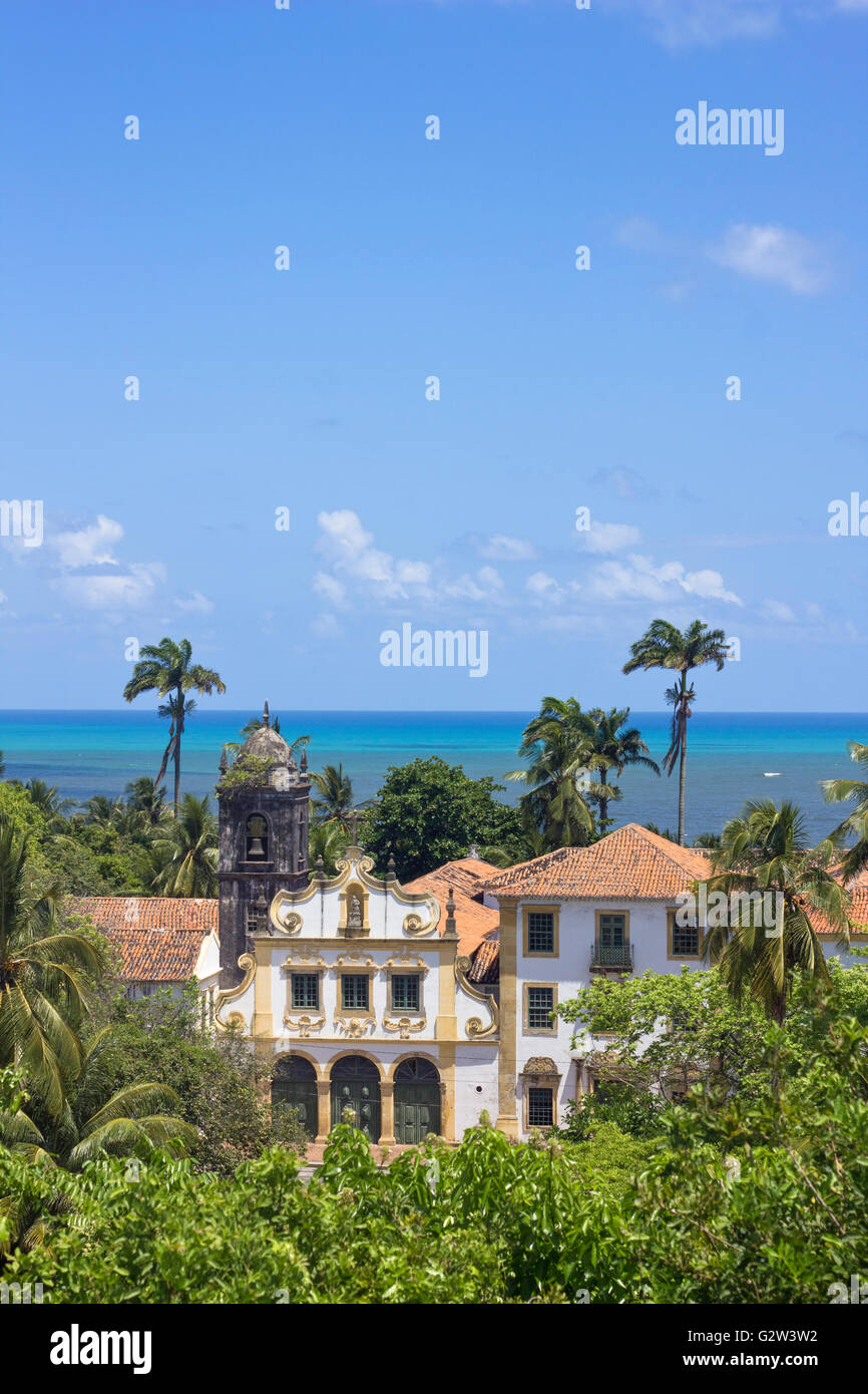 Landscape from ancient buildings in Olida, Recife Brazil, with sea at the background - Stock Image