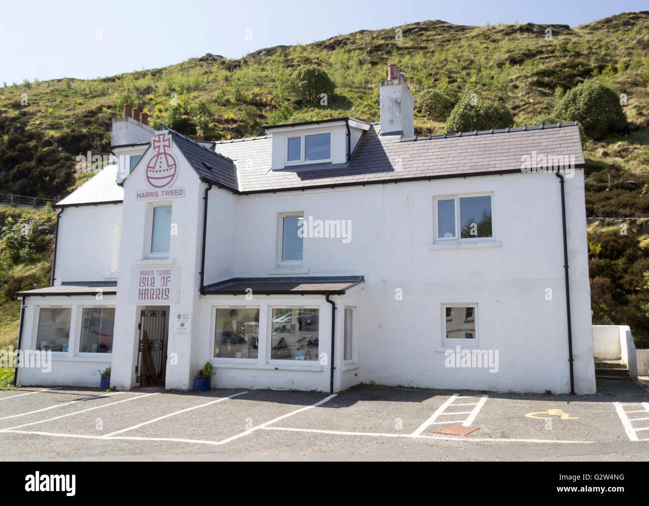The Harris Tweed Shop Isle of Harris Western Isles Outer Hebrides Scotland United Kingdom. - Stock Image
