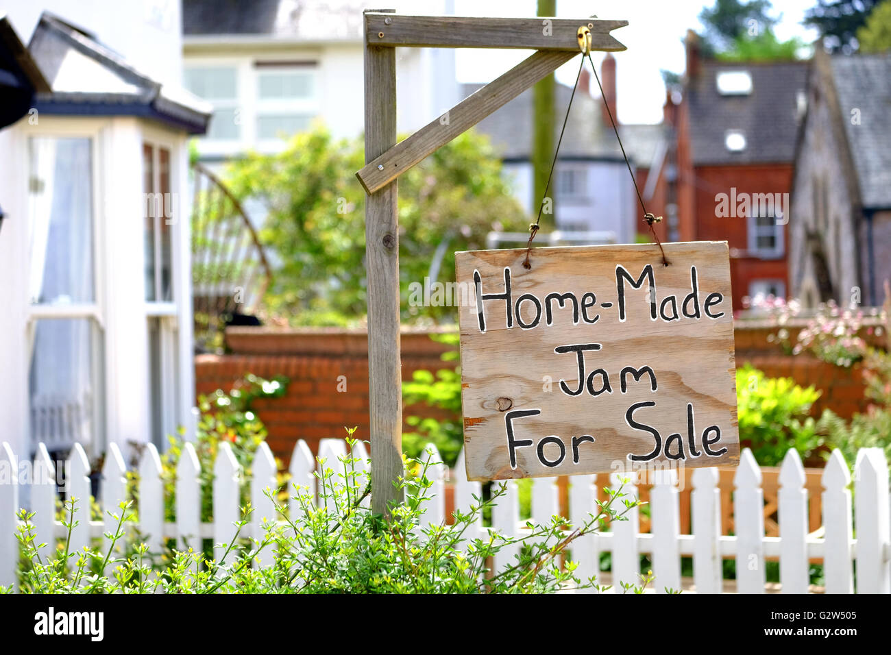 Home-made jam for sale in Lympstone, Devon, UK - Stock Image