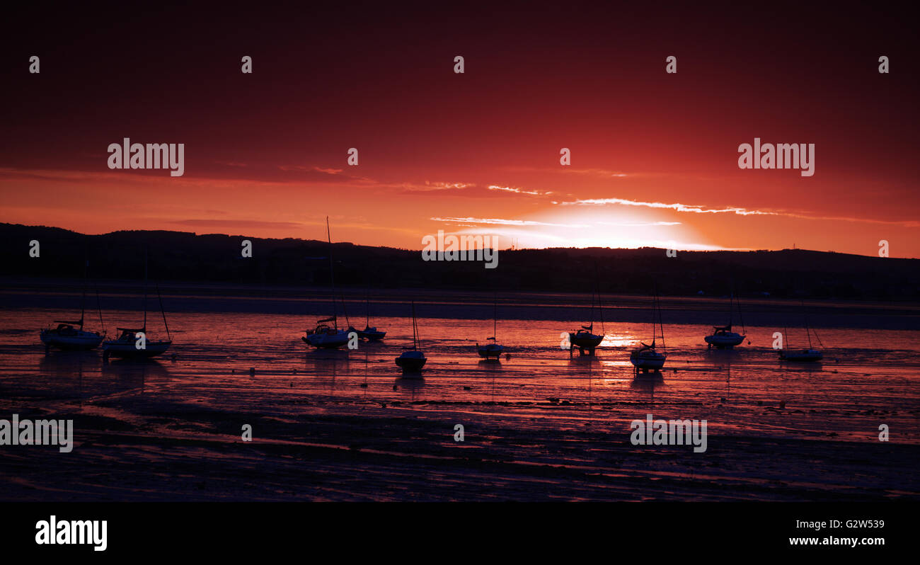 Sunset over the Exe Estuary, seen from Lympstone, Devon (UK) - Stock Image