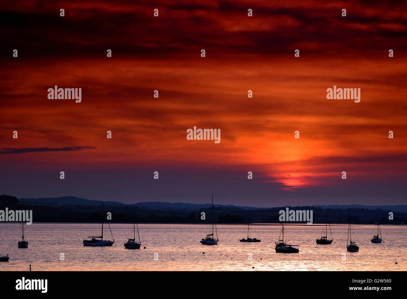 Sunset over the Exe Estuary from Lympstone, Devon, UK - Stock Image