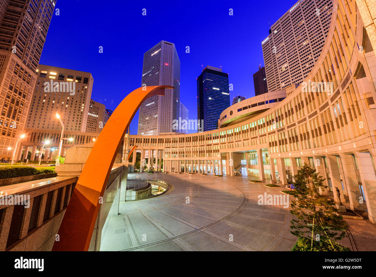 Tokyo, Japan cityscape amongst government buildings in the nishi-Shinjuku district. Stock Photo