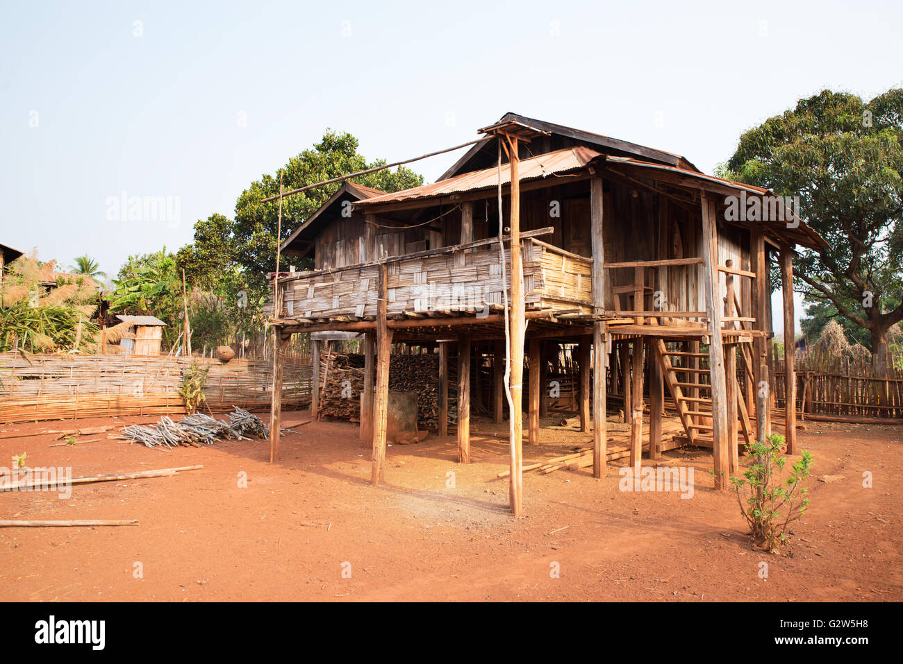 Traditional stilt house of Kayah people, Dawtamakyi village, Kayan State, Myanmar Stock Photo