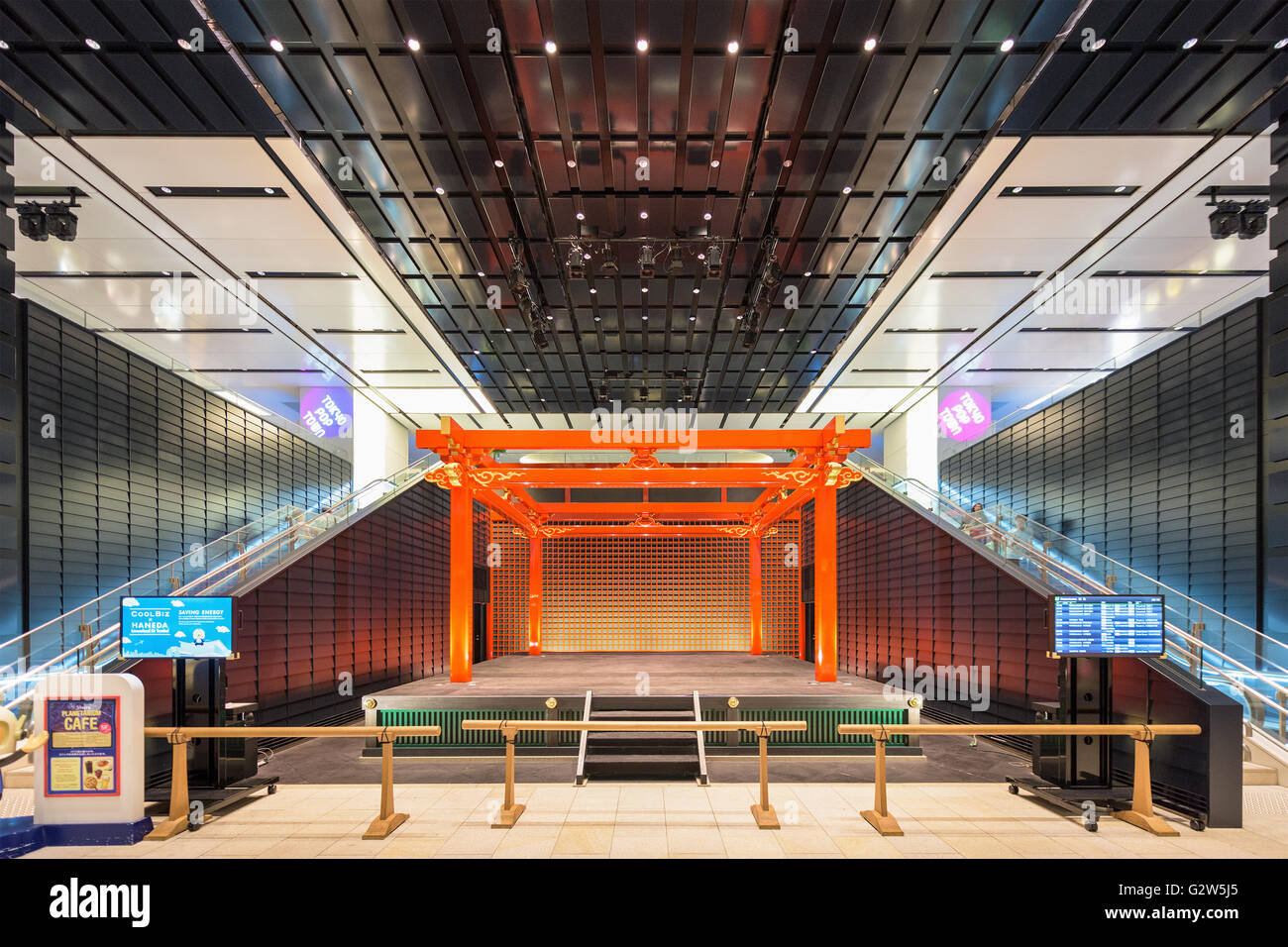 TOKYO - SEPTEMBER 1, 2015: The traditional stage in Haneda Airport. The stage is part of the Edo Market inside the - Stock Image