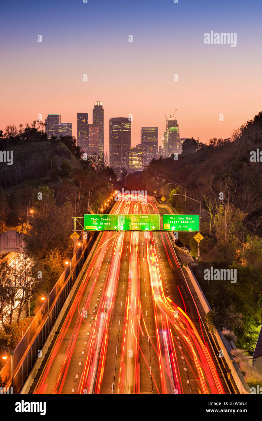 Los Angeles, California, USA skyline and highway. - Stock Image
