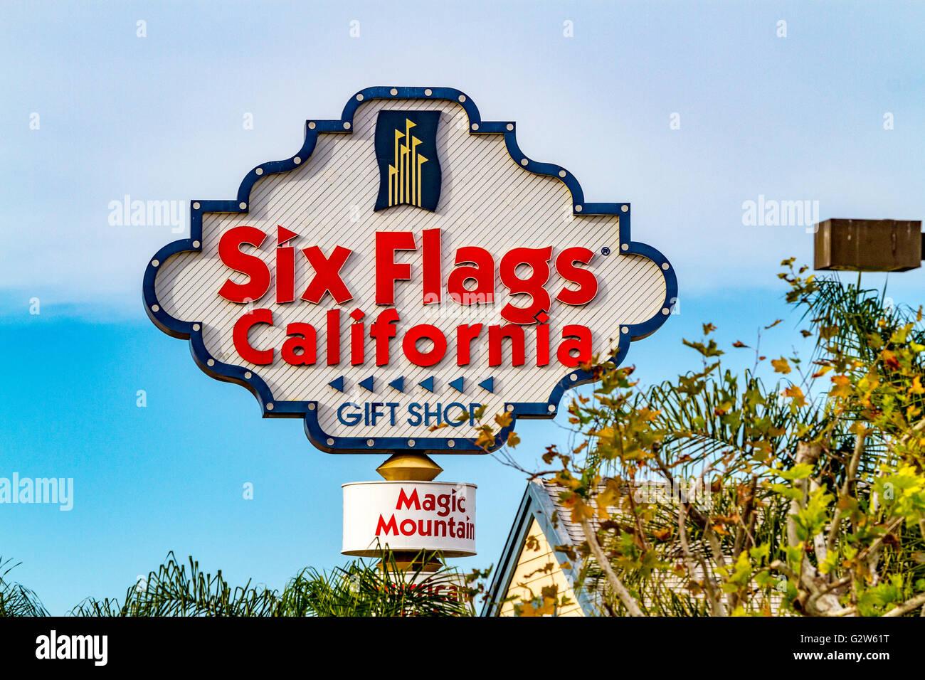 a sign for six flags magic mountain in santa clarita
