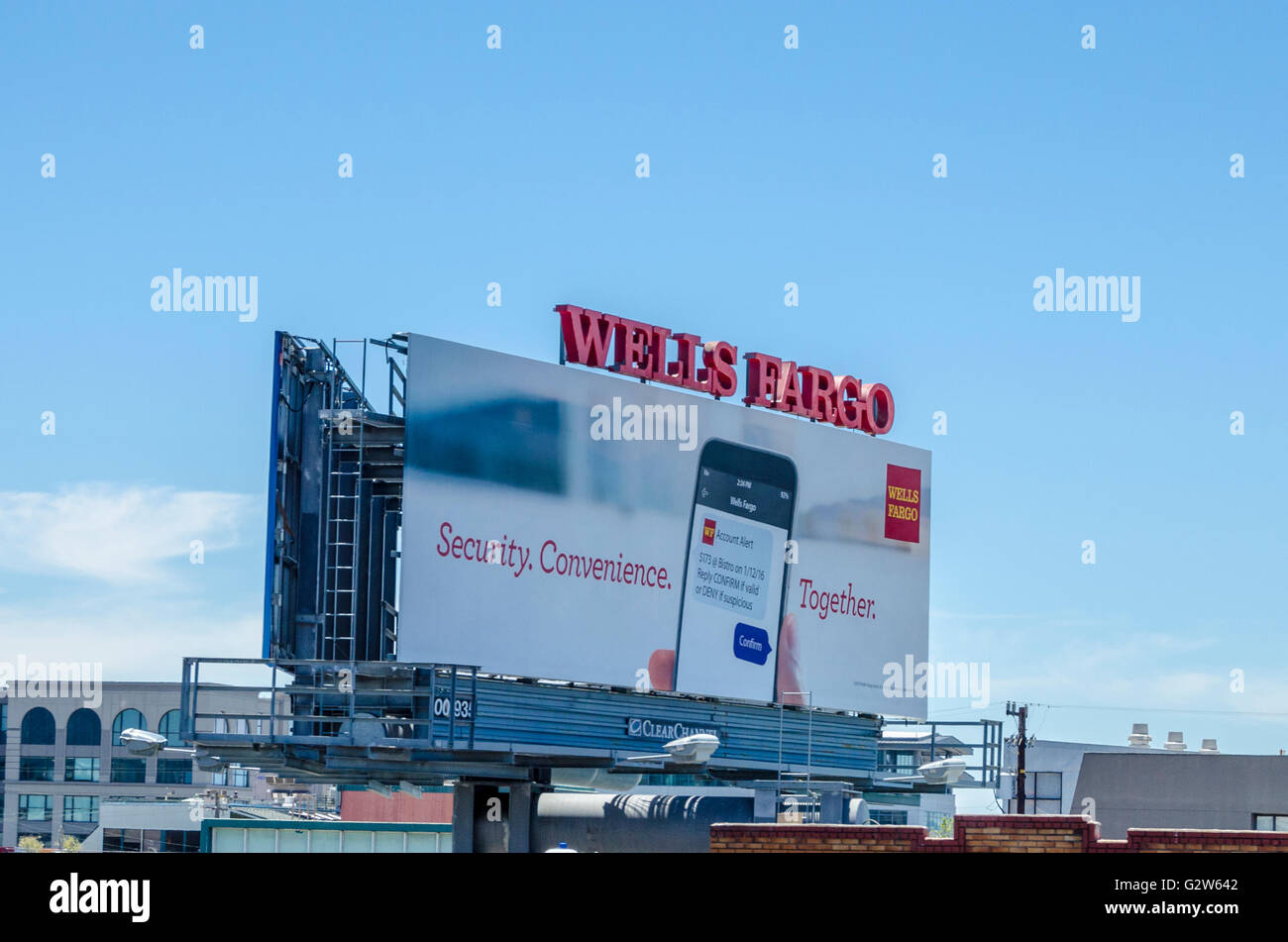 A Wells Fargo Bank Billboard along Interstate 880 In Oakland Stock
