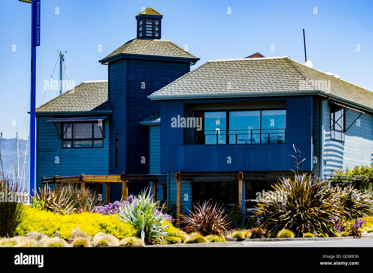 Emery Cove Yacht Harbor on Powell Street in Emeryville California - Stock Image