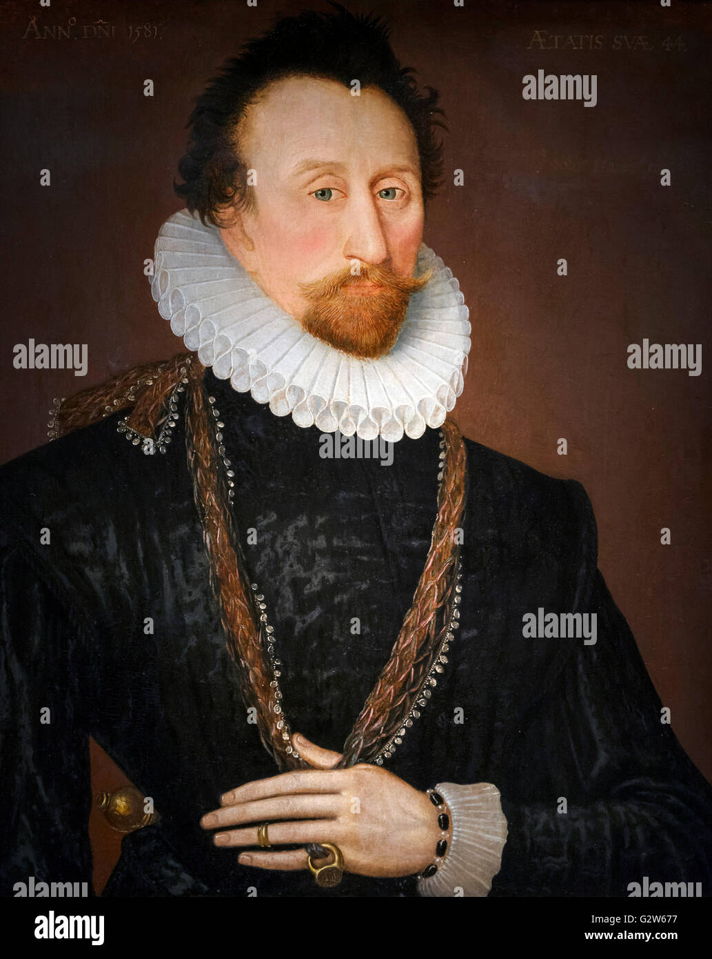Admiral Sir John Hawkins (1532-1595), an English naval commander, the first English slave trader and a highly successful - Stock Image