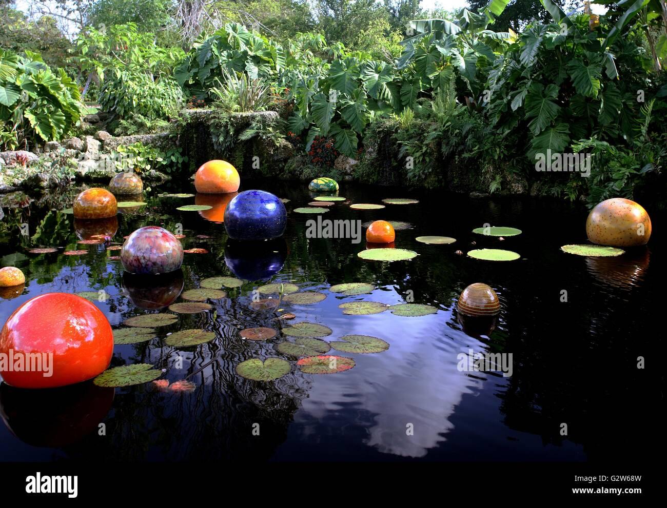 Tropical Garden Pond At The Fairchild Tropical Botanical Garden Museum In  Coral Gables, Florida.