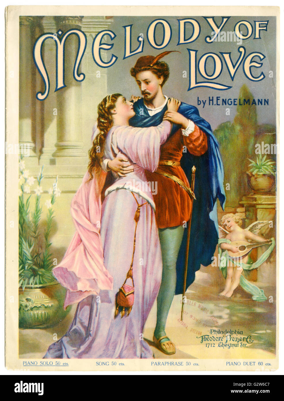 "Piano sheet music cover for ""Melody of Love"" by H. Engelmann. Published by Theodore Presser Co., Philadelphia, 1902 - Stock Image"